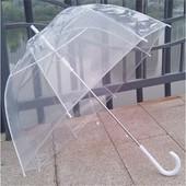 Стильный женский прозрачный стеклянный зонт трость. Глубокий купол