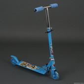 Самокат голубого цвета Трансформеры. 2 колесный