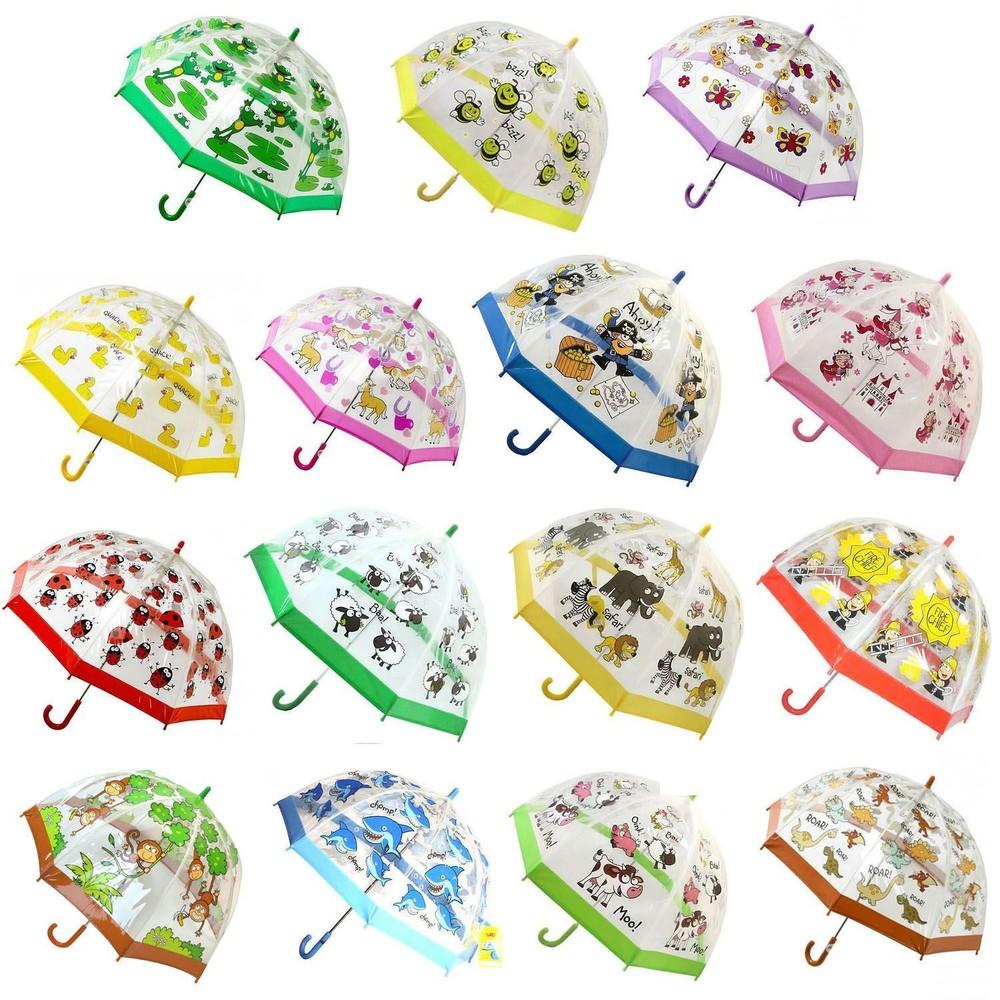 Качественный купольный прозрачный детский зонт зонтик трость для мальчика и девочки фото №1