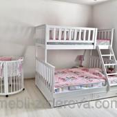 Jasmin плюс - двухъярусная трехместная кровать, от фабрики мебели из дерева