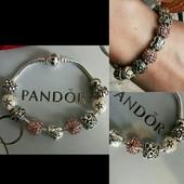 """""""Pandora браслет"""" Покрытие стерлинговое серебро 925 проба  размер 18 и 20 см."""