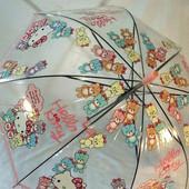 Яркий детский прозрачный  зонт зонтик трость для  девочки Hello Kitty Хеллоу Китти