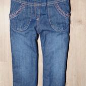 Теплые на флисе джинсы  12-18 мес
