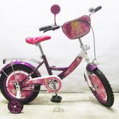 Велосипед двухколесный Балеринка 14 T-21424 dark purple + white