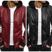 Мужская кожаная черная и бордовая куртка