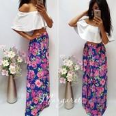 Красивая длинная юбка макси ткань шифон  размер с-м  цвет синий,мята