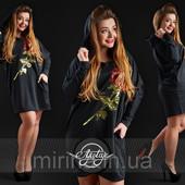 Черное платье Роза, Батал, беспл. доставка НП