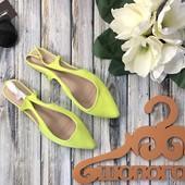 Яркие туфли с острым носком, открытой пяткой и миниатюрным каблуком    SH1280