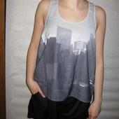 160-175 рост, шелковая майка блузка Нью-Йорк!