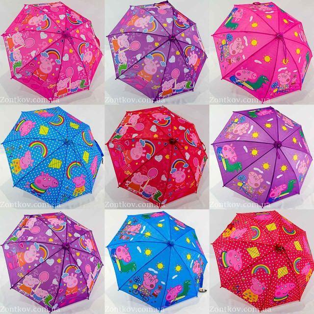Яркий детский зонт зонтик трость для девочки и мальчика  свинка пеппа фото №1