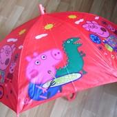 Яркий детский зонт зонтик трость для девочки и мальчика  Свинка Пеппа