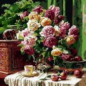 Картина по номерам Мерипоса Бордовые розы и гранаты Q-1358