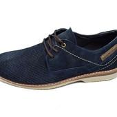 Мужские мокасины с перфорацией Нубук Multi Shoes M4 синие