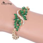Браслет с зелеными и красными камнями