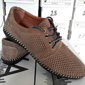 Туфли на шнурках из натуральной кожи дышащие, бежевый