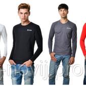 Мужская футболка с длинным зауженным рукавом, в расцветках