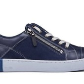 Кроссовки синие на молнию - натуральная кожа (017с)