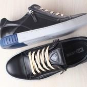 Кеды мужские кожаные, черные, с вставками из нубука, с замочком, на шнурках