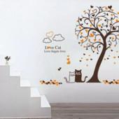 """Интерьерная наклейка """"Коты под деревом"""""""