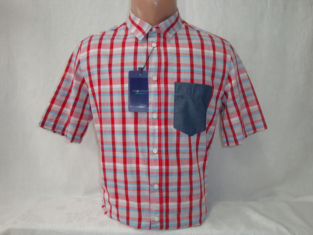 Мужская рубашка в клетку с коротким рукавом Piazza Italia. Разные цвета. фото №1