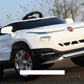 Детский электромобиль M 3292 eblr-1 на резиновых eva колёсах, с кожаным сиденьем, белый