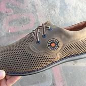 Летние кожаные мужские туфли цвета олива