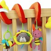 Подвесная развивающая игрушка растяжка спираль на кроватку коляску іграшка дитяча підвісна