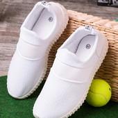 Удобные белые женские кроссовки без шнуровки