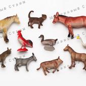 Набор Домашние животные, 10 шт, лошадь ослик овца кот гусь петух и др