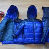 Модная деми куртка для мальчика электрик, отличное качество