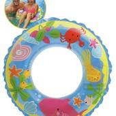 Круг надувной детский Intex 58245 Морской принт, винил, (6-10 лет)