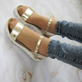 Босоножки золотые, сандали золотистые