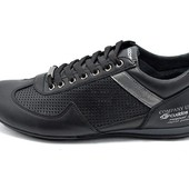 Мужские кроссовки кожа Cuddos Design Perforation черные