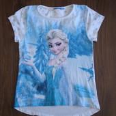 Фирменная футболка с Эльзой хлопок на 6-8 лет