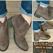 Ботинки натуральная Замша+кожа Minelli Испания 39-40р