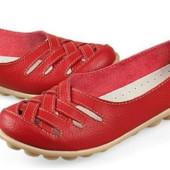 Туфли красные натуральная кожа Б775