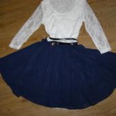 Платье с поясом кружево+ шифон S-размер можно в школу