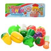 Продукти 5016B на липучці, фрукти, овочі, 9 шт., тарілка, ніж, кул., 19-31-5,5 см.