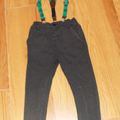 Стильные брюки с подтяжками Next для мальчика 18-24 месяцев, 86-92 см