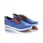 Мужские кеды синего цвета с коричневой шнуровкой