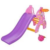 Детская горка Bambi (жираф pink) с баскетбольным кольцом