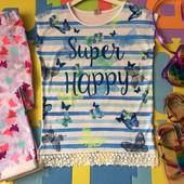 Удлинённая футболка в бабочках Super Happy Tu р.10