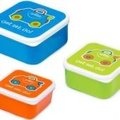 Trunki Контейнер для еды ланч бокс 3 в 1  для завтрака голубой, оранжевый, зеленый