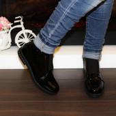 Ботинки весенние женские черные лаковые