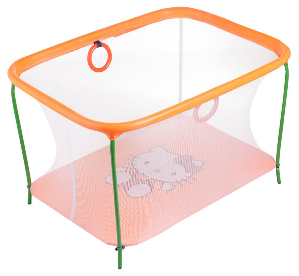 Манеж детский игровой kinderbox люкс оранжевый hello kitty с мелкой сеткой (km 200) фото №1