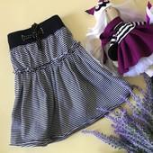 Красивая детская юбка в морскую полоску на мягком поясе-кулиске