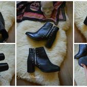Шикарные ботинки-кожа Asos  на широком каблуке,р-р 39