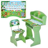 Парта детская (от 3-12 лет) HB-2070M03-08 алфавит,зеленая,регулируется высота,стульчик в комплекте