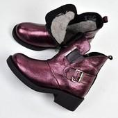 Зимние ботинки H@rmes, цвет баклажан, синий, никель
