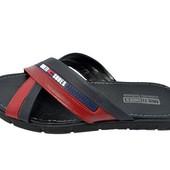 Шлепанцы мужские кожаные Multi Shoes Authentic 85 синие с красным